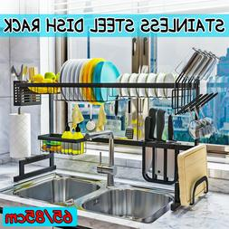 """33.5"""" Over Sink Dish Drying Rack Drainer Stainless Steel Kit"""