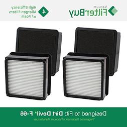 4 - Dirt Devil F66  Allergen HEPA Filters with Foam Insert.