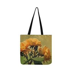 Roses Bloom Yellow Orange Flower Wet Floral Canvas Tote Hand