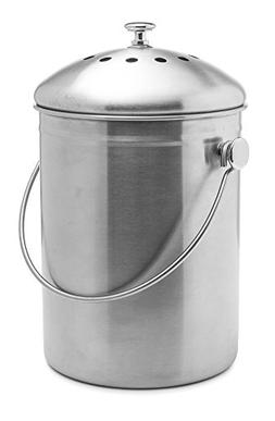 Epica Stainless Steel Compost Bin 1.3 Gallon-Includes Charco