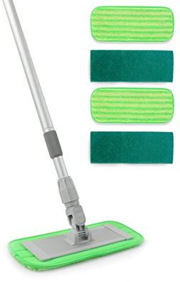 "Microfiber Floor Mop System - 11"" Pads and Adjustable Handle"