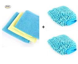 Car Wash Mitt Microfiber Scratch Free Blue Cleaning Gloves +