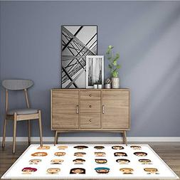 Collection Area Rug set of diverse avatars different nationa