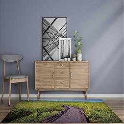 Collection Area Rug Wooden Pathway To Forest Trees Boardwalk