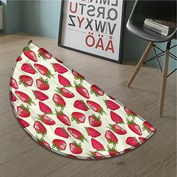 Fruits Bath Mat non slip Strawberries Vivid Growth Plant Vit
