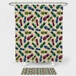 Indie Shower Curtain And Floor Mat Combination Set Retro 80s