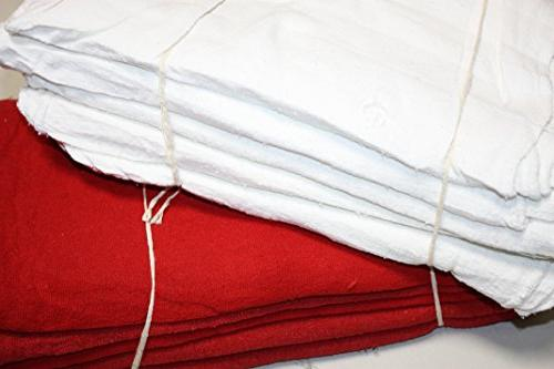 Atlas White & Red Combo Shop Towels - Pack of 100  - Size 13