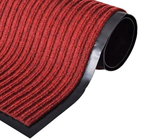 pvc door mat red non