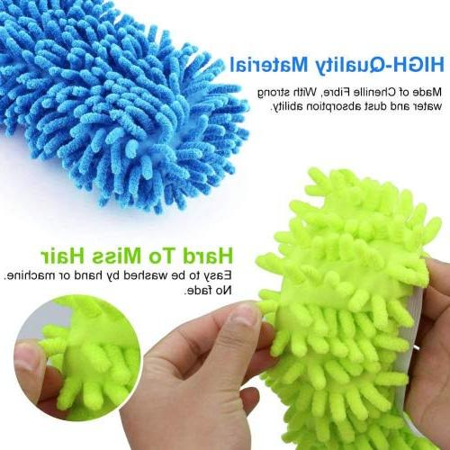 Bontip 4 Washable Mop Slippers Shoes Cleaning House Mop Slippers Multifultional Floor Cleaning House