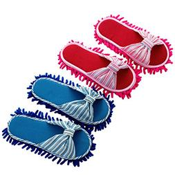 2 Pairs Microfiber Slipper Cleaning Mop Slippers Cotton Flax