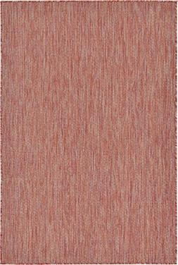 A2Z Rug Plan & Trellis Design Indoor/Outdoor Rust Red 4' x 6