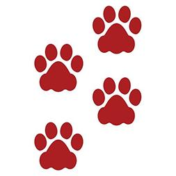 LiteMark 3 Inch Red Dog Paw Prints Decal Stickers for Floors