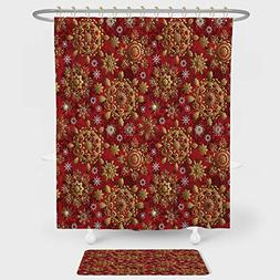 iPrint Red Mandala Shower Curtain And Floor Mat Combination
