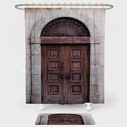 iPrint Rustic Shower Curtain And Floor Mat Combination Set A