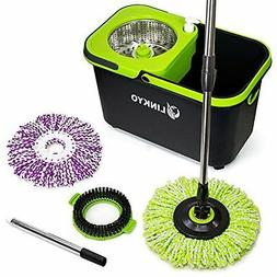 LINKYO Spin Mop Bucket System - Microfiber Mop with Easy Wri