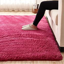 Super Soft Wine Red Area Rug Kids Rugs Artic Velvet Mat Plus
