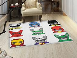 smallbeefly Superhero Bath Mats for floors Bulldog Superhero