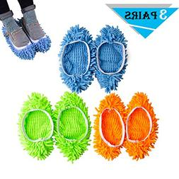Kamlif 3 Pairs Washable Dust Mop Slippers Microfiber Cleanin
