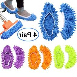 Bontip 4 Pairs  Unisex Washable Dust Mop Slippers Shoes Micr