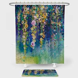 Watercolor Flower Shower Curtain And Floor Mat Combination S